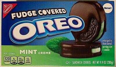 - NEW NABISCO FUDGE COVERED OREO MINT CREME CHOCOLATE SANDWICH COOKIES 9.9 OZ BOX