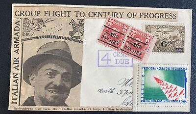 1933 Montreal Canada Century Of Progress Flight Cover Gen Italo Balbo Label Spec