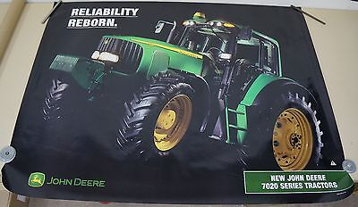 "JOHN DEERE DEALER ADVERTISING POSTER 7020 TRACTOR RELIABILITY REBORN 48"" X 37"""
