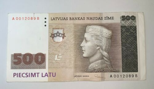 Latvian Lettland 500 Latu 2008 banknote A 0012089 B VF Circulated