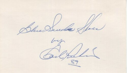 """CARL PERKINS  """"BLUE SUEDE SHOES""""  SIGNED 3X5 INDEX CARD"""