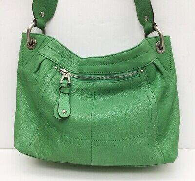 B Makowsky Green Leather Satchel Handbag Signature Leopard Print Lining Purse