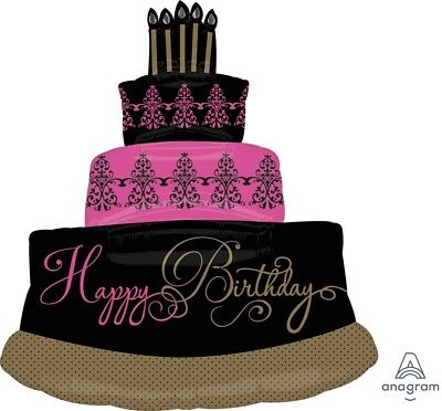 Fabulous Pink Gold Black Happy Birthday Cake Party Balloon Decoration 28x32