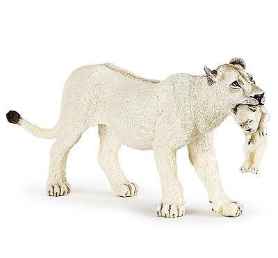 Papo 50203 White Lioness with Cub Model Wild Animal Lion Figurine Toy 2016 - NIP