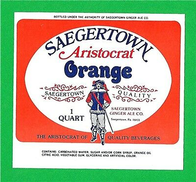 Saegertown Aristocrat Orange Soda Bottle Label Pa