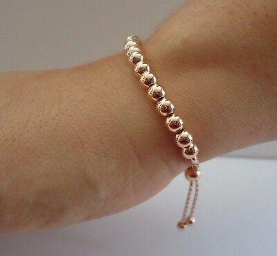 14k Gold Rose Beads - 14K ROSE GOLD OVER 925 STERLING SILVER ROUND BEADED BRACELET /8'' ADJUSTABLE