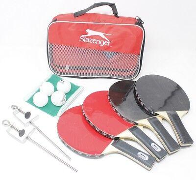 SALZENGER Tischtennis Set Starter Kit 4 Spieler 4 Schläger 4 Bälle Netz Tasche