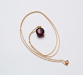 Solid 14K Gold Necklace with Mozambique Garnet