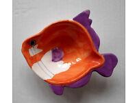 Glazed Ceramic Jewellery Trinket Bowl/Tray; Fish Shape; Handmade; 6 (W). 1.5 ins (H)