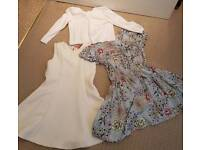 Girls white cardigan and two dresses Age 3