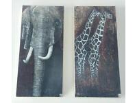 Elephant and giraffe canvas artwork