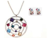 VIS Necklace Earring Set - Emerald, Aquamarine, Amethyst Jewellery +FREE Ring
