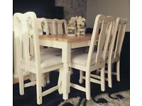 Solid pine shabby chic table and 6 chairs farmhouse farrow and ball can deliver