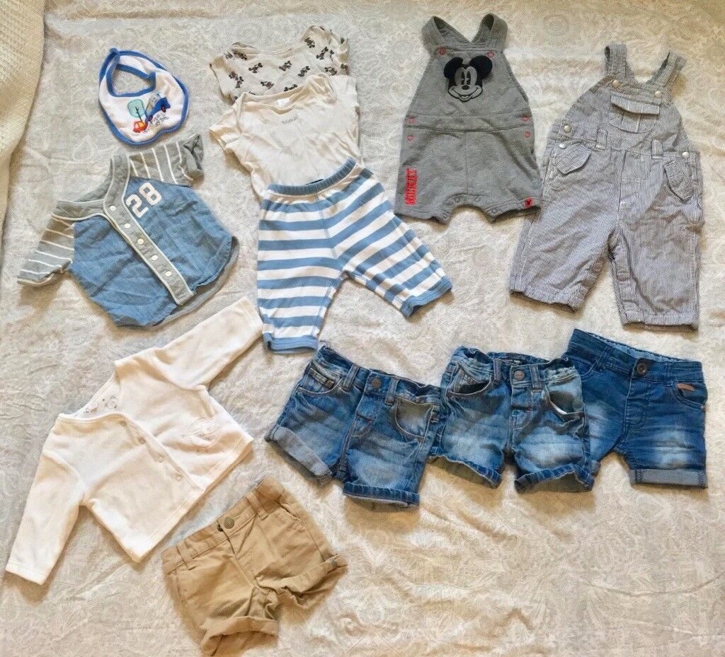 a1eae52c10 6-9 Months Boy Clothes Bundle Baby Grows Trousers Dungarees Jean Shorts  Tops Baby Gap. Hove ...