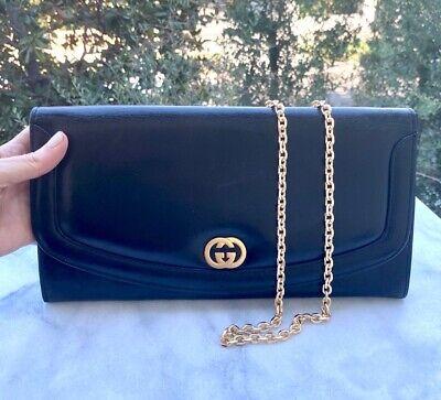 GUCCI Authentic Clutch Envelop Vintage - GG - Logo Black Leather Purse + Chain