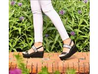 Moda in pelle black panelo Diamante wedges in store £65.99 Typical Size uk 6 sold out