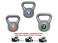 Kettlebell Set 6-8-10kg Fitness Weights Vinyl Kettlebells: Free Workout DVD