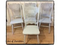 4 Matching Wooden Chairs Hand Painted in Light Grey Mineral Paint.