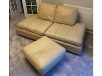 Leather sofa & footstool cream colour - cat damaged