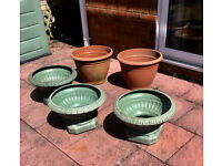 Assorted Large Garden Plant Pots x 5