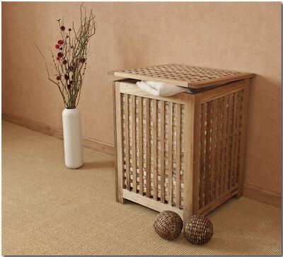 hebox mit Leinensack - Holz Walnuss (Sackleinen Box)