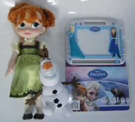 Disney FROZEN Bundle: Anna Toddler Doll, Olaf Cuddly Toy and Disney Frozen Magnetic Drawing Kit Book