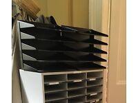 Ryman black metal filing shelves x 2 & Fellowes literature organizers x 4
