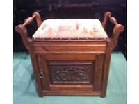 Antique Piano Stool (Edwardian?) -Lifting Seat Music Storage Plus Cupboard. Good condition