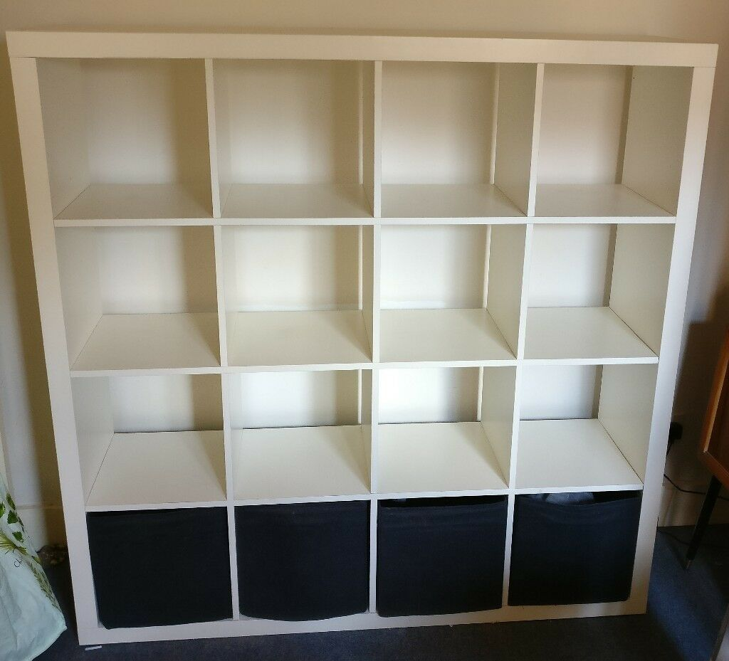 IKEA EXPEDIT / Kallax 4x4 Storage Unit. Great for records + 4 black shelf boxes & IKEA EXPEDIT / Kallax 4x4 Storage Unit. Great for records + 4 black ...
