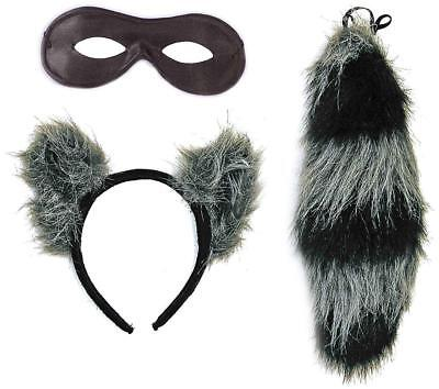 Raccoon Kit Ears Tail Animal Fancy Dress Up Halloween Adult Costume Accessory (Raccoon Tail Costume)