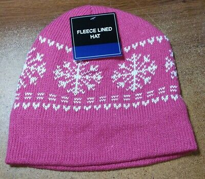PINK Mens Womens KNIT FLEECE Lined Beanie Hat Cap Warm Winter SnowFlake NWT Snowflake Knit Hat