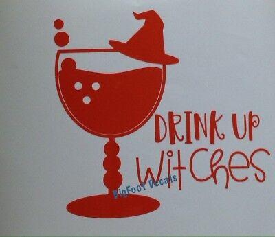 Drink Up Witches Halloween Pumpkin Spice Mug Glass Sticker Decal Autumn Football (Halloween Cartoons Political)