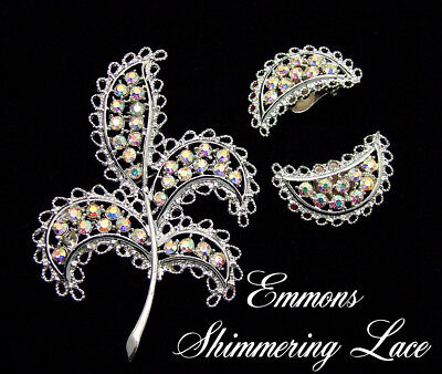 Emmons Brooch & Earrings SHIMERING LACE From The 1960s AB Rhinestone Vintage Set