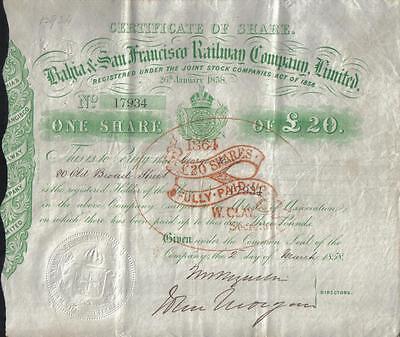 Original Brazil UK GB 1858 Bahia San Francisco Railway Company £20 Uncancelled