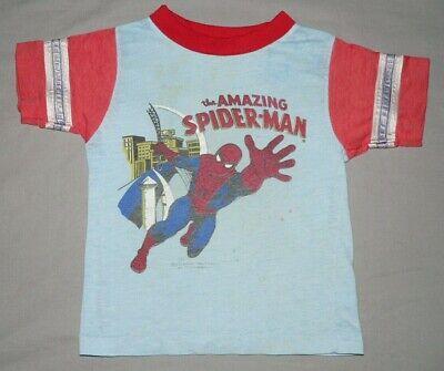 Vtg 70s 1979 MARVEL COMICS T-SHIRT AMAZING SPIDERMAN Kid's SzS (4-5) Ringer RARE Blue Kids Ringer T-shirt