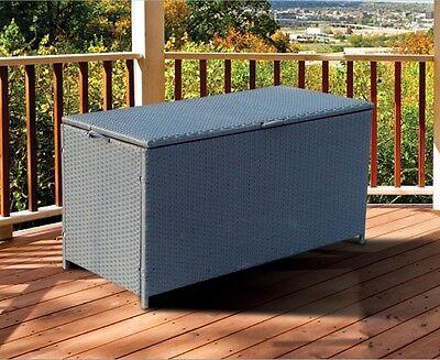 Rattan Steel Outdoor Garden Patio Storage Box Weatherproof Washable Case Grey UK