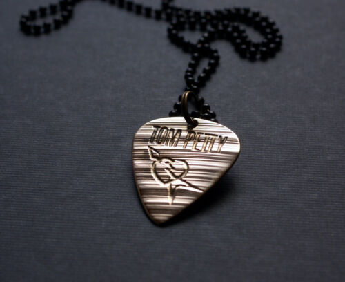 Handmade Etched Recycled Cymbal Tom Petty Guitar Pick Necklace - Donation Sale
