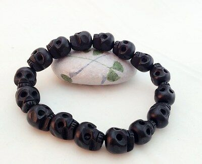 Stretch Wood Bracelet Carved Skull  Beads Elastic UNISEX, buy 2 get 1 free, (Elastic Stretch Bracelet)