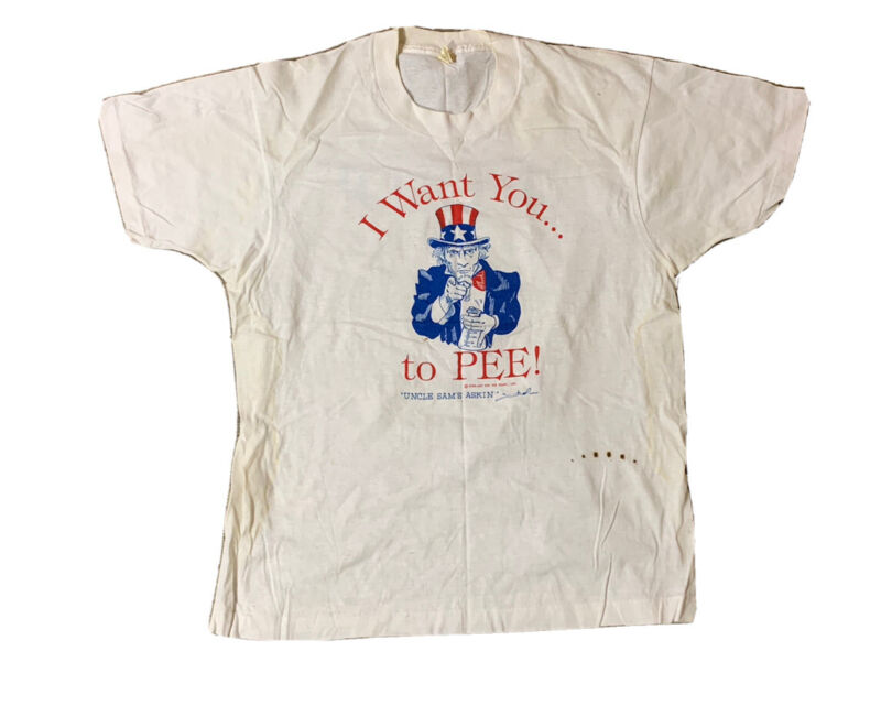 VTG 80's Uncle Sam I Want You To Pee Single Stitch T Shirt Size S/M Screen Stars