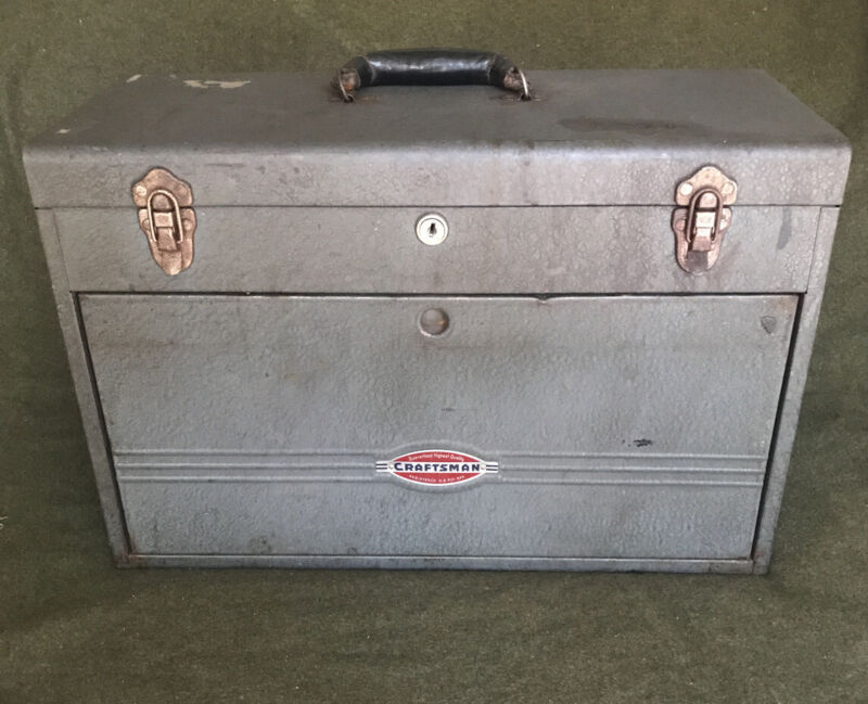 VINTAGE Early CRAFTSMAN MACHINISTS TOOL BOX CHEST! Leather Handle, Key!