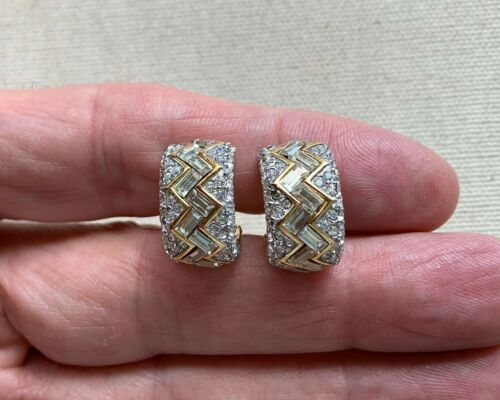 "Givenchy Rhinestone Hoop Earrings Fancy Cut Zig Zag Elegant Vintage .75"" CLIP"