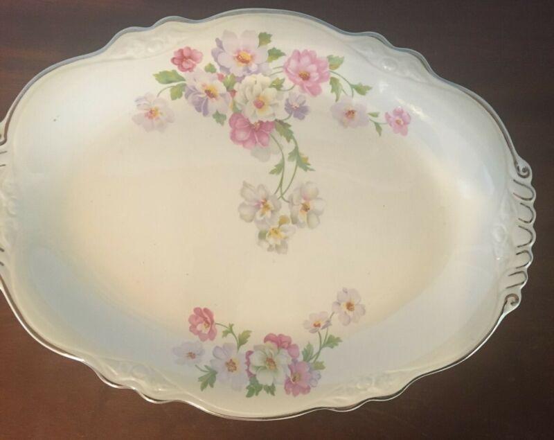 Vintage Virginia Rose Platter 9 x 12 Floral, Pink