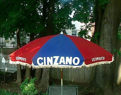 Rare VINTAGE 6.5' CLOTH COTTON CINZANO VERMOUTH PATIO UMBRELLA TORINO ITALY