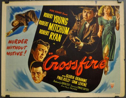 "CROSSFIRE 1947 ORIGINAL 22X28 ""B"" MOVIE POSTER ROBERT YOUNG ROBERT MITCHUM"
