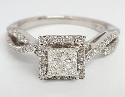 0.77 ct 14K White Gold Princess Cut Diamond Engagement Ring GIA G / VS2