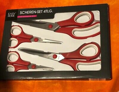 Scissors 4 Piece Stainless Steel Comfort Grip Multi Purpose Set Red Austria 4 Piece Comfort Grip