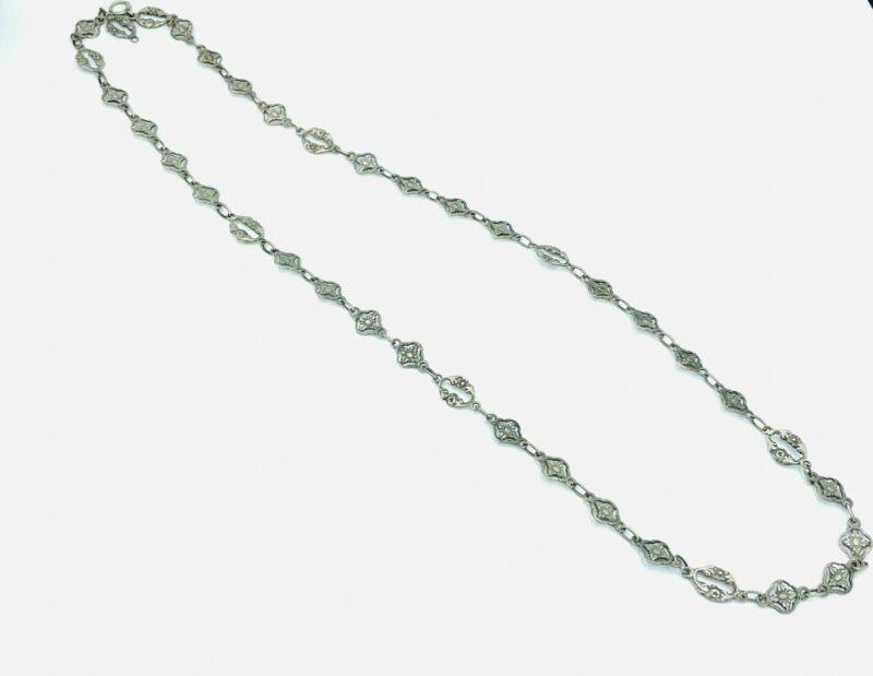 Long Art Nouveau 800 Silver Double Sided Flower Floral Link Necklace