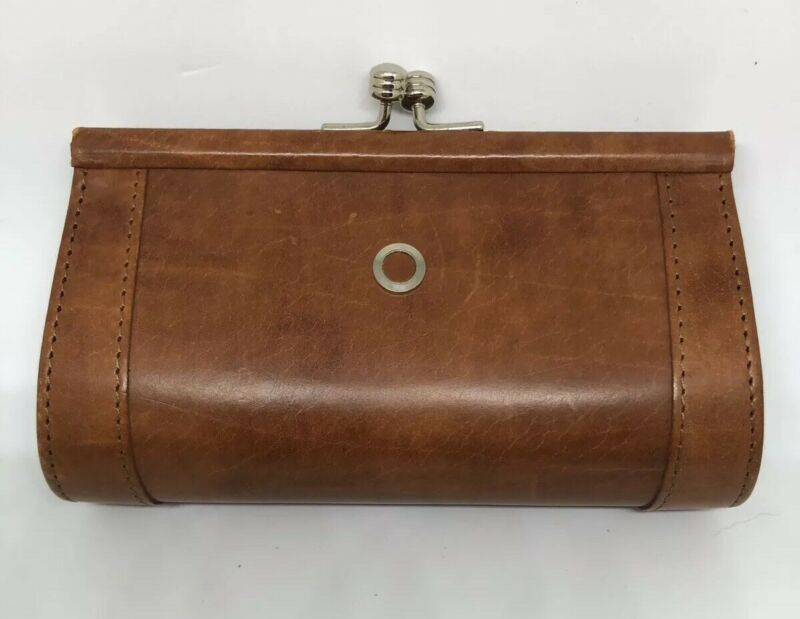 GARYS LEATHER Kisslock Small Coin Purse Brown Leather Vintage Gift USA