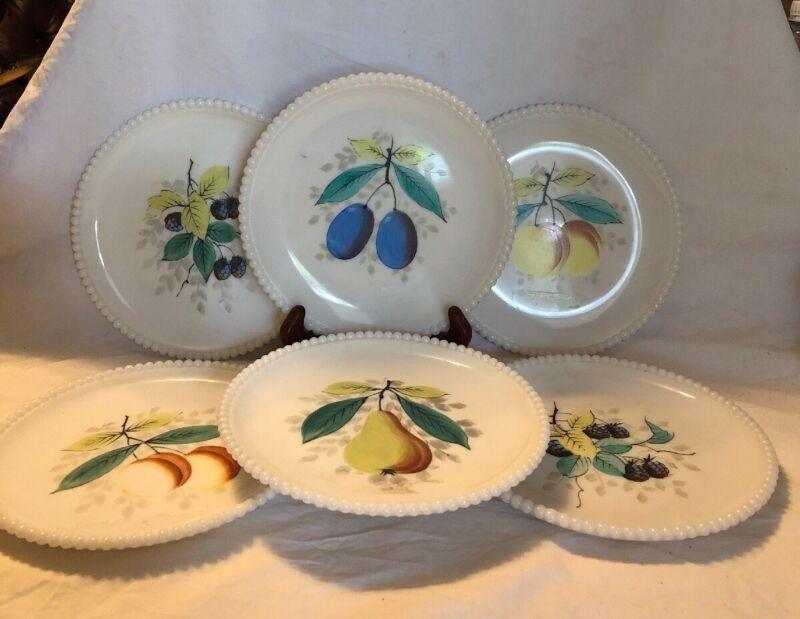 "Westmoreland Beaded Edge Milk Glass Plates 7.5"" Hand Painted Fruit Decorations"