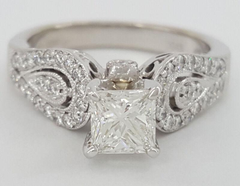 1.29 Ct 14k White Gold Princess Cut Diamond Anniversary / Engagement Ring Igi